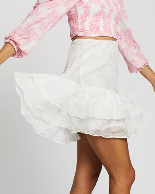 Glamorous Textured Tier Skirt - Skirts (White)