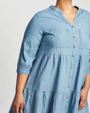Love Your Wardrobe Ellison Chambray Tiered Dress - Dresses (Indigo)