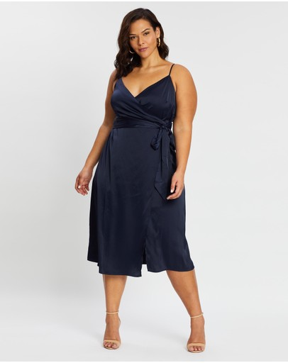 Atmos&here Curvy Isabelle Satin Front Wrap Dress Navy