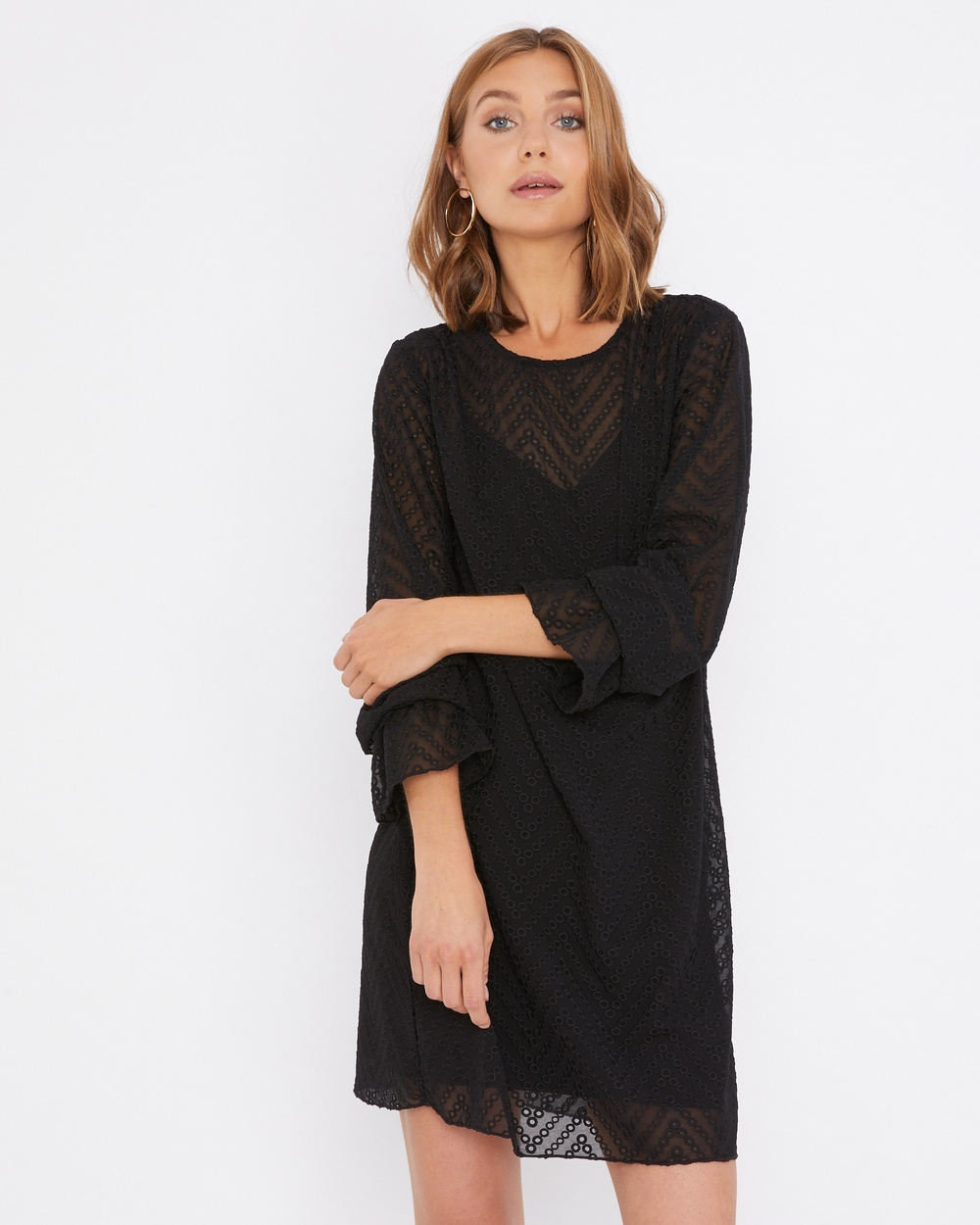 Calli Averie Embroidery Dress Dresses Black Averie Embroidery Dress