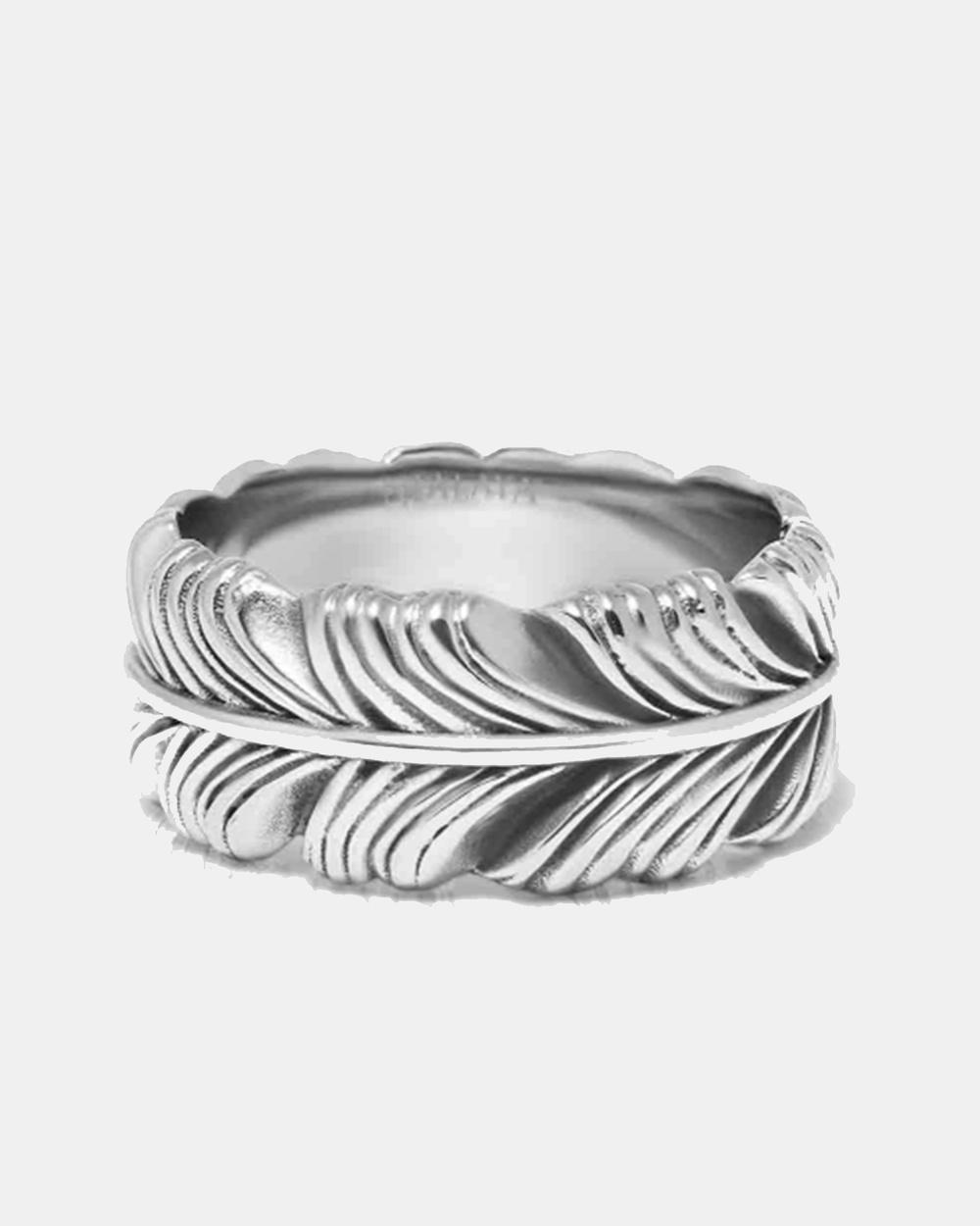 Nialaya Jewellery Men's Feather Ring Silver