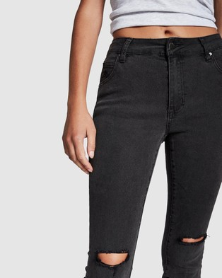 Cotton On Mid Rise Cropped Skinny Jeans - Crop (Washed Black Rip Knee)