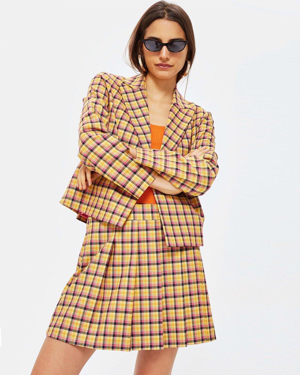 74676ce27a Check Kilt Skirt by TOPSHOP Petite Online   THE ICONIC   Australia