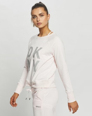 DKNY Terry Foil Stacked Logo Sweatshirt - Crew Necks (Ballet Slipper)