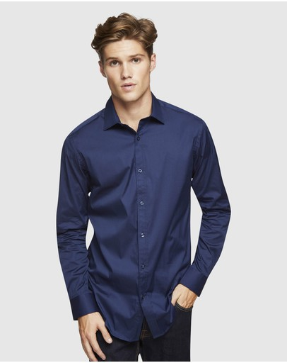 Oxford - Navy Stretch Travel Shirt