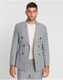 REISS - Ned Double Breasted Check Blazer