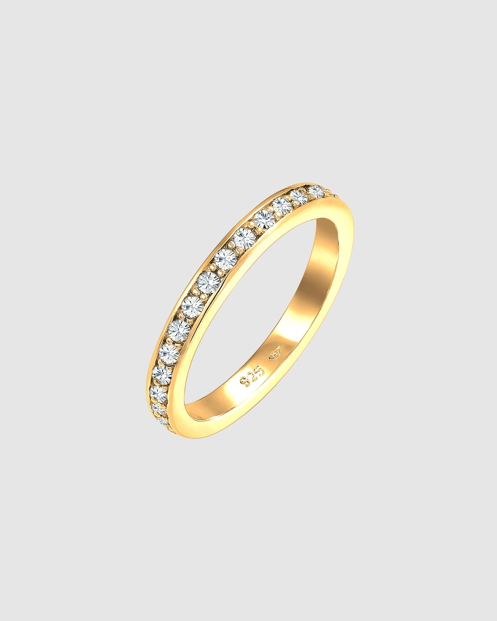 Elli Jewelry Ring Glamourous with Crystals in 925 Sterling Silver gold plated Jewellery Gold