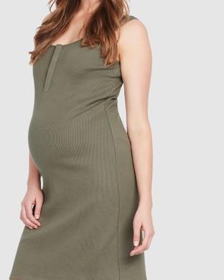 Soon Maternity Essential Feeding Tank Dress - Bodycon Dresses (KHAKI)