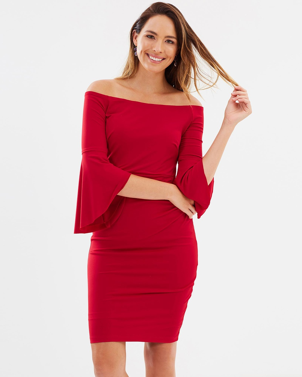Montique Miranda Bell Sleeve Dress Dresses Red Miranda Bell Sleeve Dress