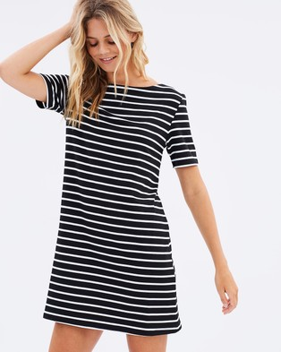 Atmos & Here – Caitlyn Jersey Shift Dress Black Stripe