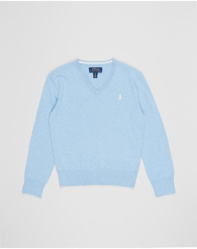 Polo Ralph Lauren - Long Sleeve V-Neck Pima Sweater - Teens