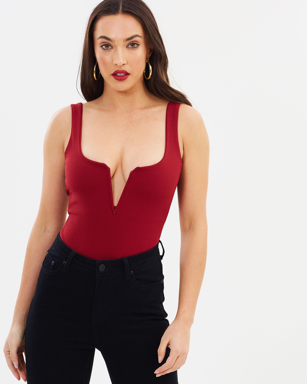 Missguided Notch Crepe Bodysuit Tops Wine Notch Crepe Bodysuit