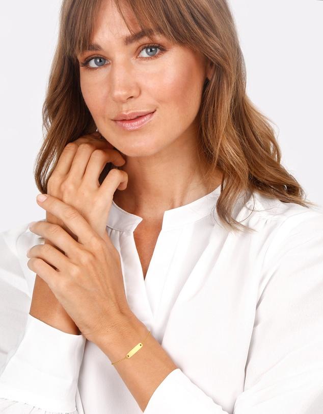 Women Bracelet ID Bracelet with Engravable Plate 375 Yellow Gold