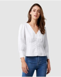 Forever New - Alexis V Neck Button Front Blouse