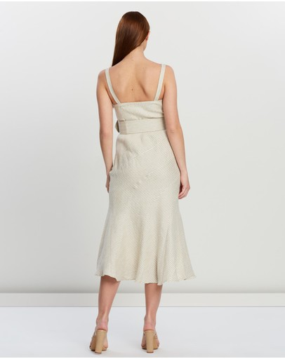 Shona Joy Contour Panel Midi Dress With Belt Cream & Natural