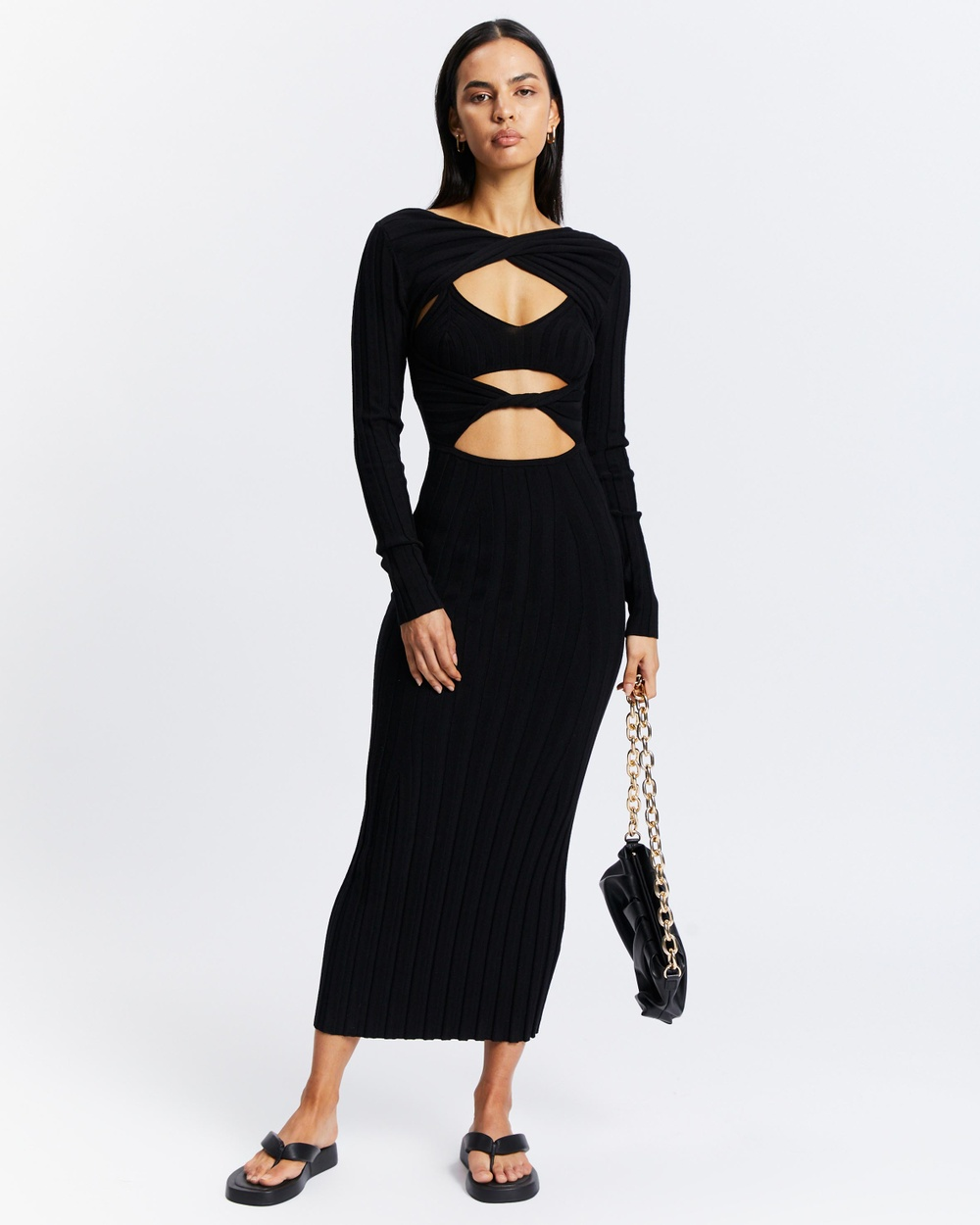 AERE Long Sleeve Knit Dress Bodycon Dresses Black