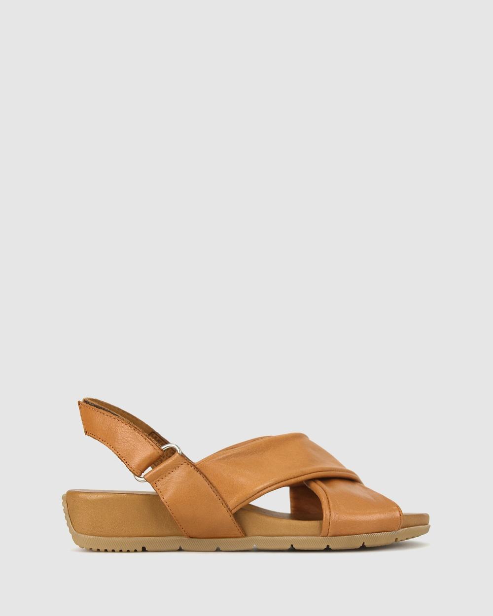 Airflex Zada Leather Wedge Sandals Tan