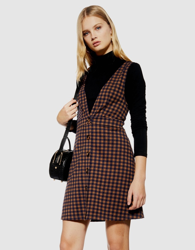 TOPSHOP Petite - Check Button Pinafore Dress