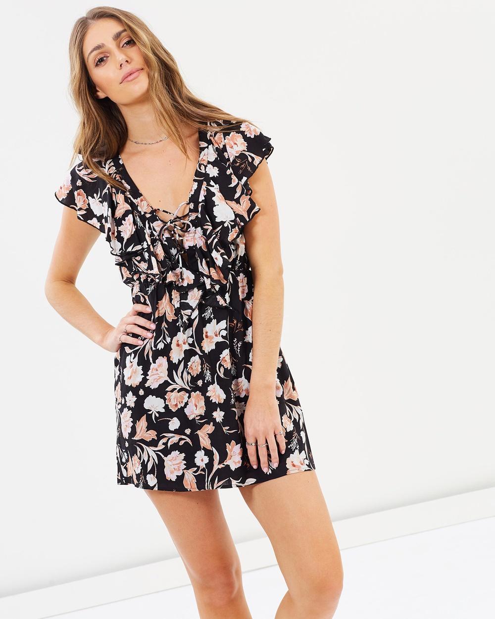 Amuse Society Play Nice Dress Printed Dresses Black Floral Play Nice Dress