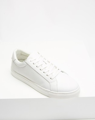 AERE - Basic Leather Sneakers (White Leather)