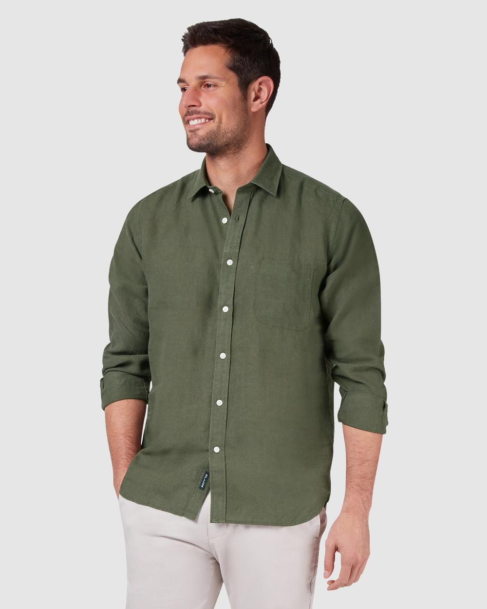 Blazer - Cooper Long Sleeve Linen Plain Shirt - Shirts & Polos (Green) Cooper Long Sleeve Linen Plain Shirt
