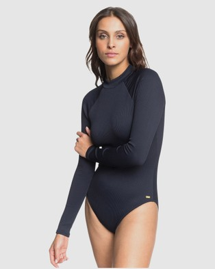 Roxy Womens Mind Of Freedom Long Sleeve UPF 50 One Piece Swimsuit - Rash Suits (Anthracite)