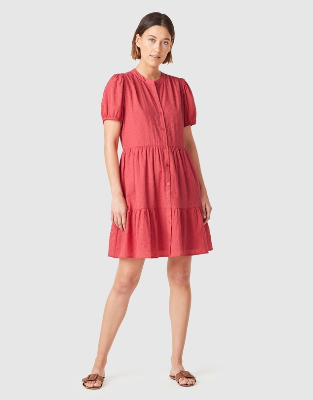 French Connection - Cotton Dobby Puff Sleeve Dress