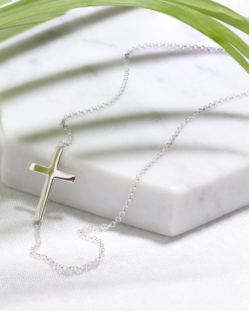 Elli Jewelry Necklace Women Cross Symbol Faith 925 Sterling Silver Jewellery Silver