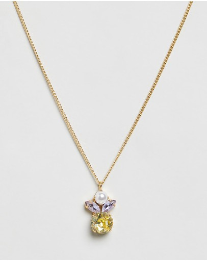 Peter Lang Ange Fine Necklace Champagne Gold Pearl Clear & Canary