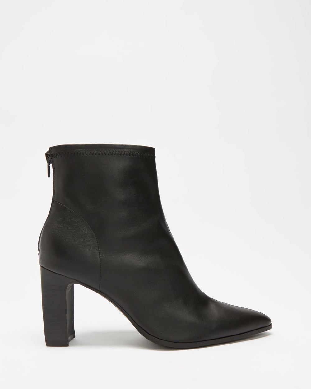 AERE Stretch Leather Ankle Boots Black Leather