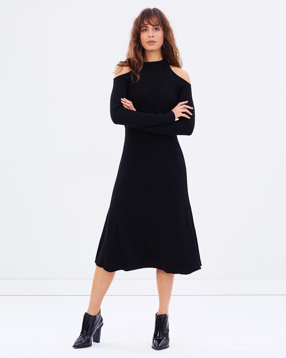 Friend of Audrey Black Cut-Out Shoulder Knit Dress