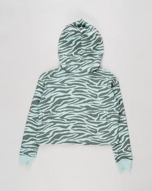 Free by Cotton On Serena Crop Hoodie   Kids Teens - Hoodies (Duck Egg & Tiger Stripe)