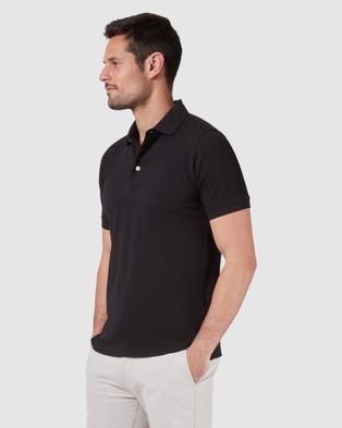 Blazer Carter Textured Short Sleeve Polo - Shirts & Polos (Black)