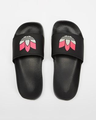 adidas Originals Adilette Lite   Women's - Slides (Core Black, Grey Two & Shock Pink)