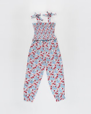 Cotton On Kids Imogen Shirred Jumpsuit   Kids Teens - Sleeveless (Pink Quartz & Jolly Floral)