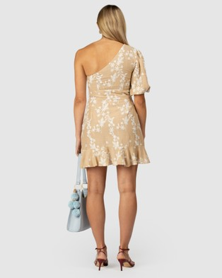 The Wolf Gang Fes Embroidered One Shoulder Dress - Bridesmaid Dresses (Neutral)