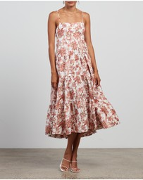 Shona Joy - Carolina Open Back Tiered Midi Dress