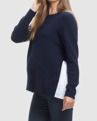 Soon Maternity Grace Pleat Back Knit - Jumpers & Cardigans (Navy)