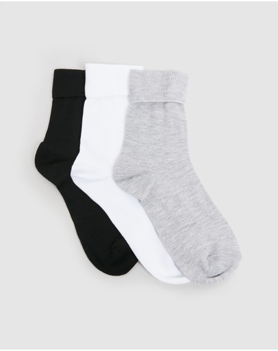 Calvin Klein - Classic Fine Rib Turn Cuff Socks 3-Pack - Kids-Teens