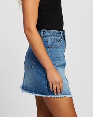 Atmos&Here Jade Recycled Cotton Blend Denim Mini Skirt - Denim skirts (Mid Blue)