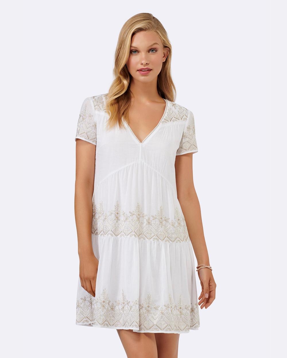 Forever New Sahara Embellished Boho Dress Dresses White Sahara Embellished Boho Dress
