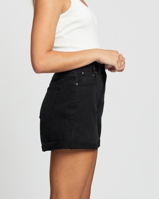 Atmos&Here Angela Recycled Cotton Blend Denim Shorts - Denim (Washed Black)