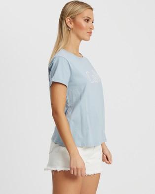 Calli Embroidered T Shirt - T-Shirts & Singlets (Seafoam & White Logo)