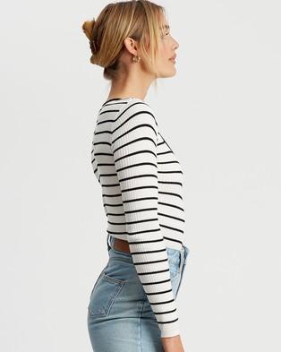 Savel Elsbeth Knit Crop - Tops (White & Black Stripe)