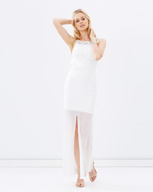 SKIVA – Jewel Collar Chiffon Evening Dress