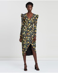 BY JOHNNY. - Bella Floral Tuck Wrap Midi Dress
