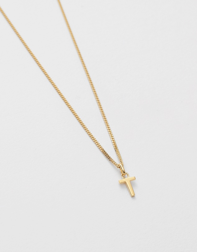 Women T Outline Initial Necklace