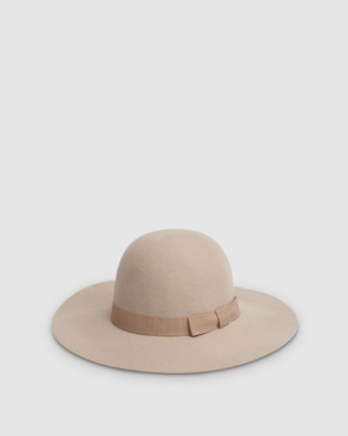 Kate & Confusion Classic Felt Floppy Hat - Hats (Taupe)