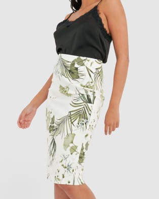 Forcast Ria Floral Pencil Skirt - Pencil skirts (Ivory)