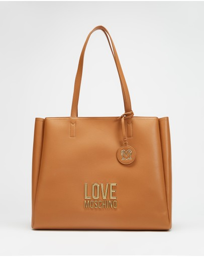 LOVE MOSCHINO - Gold Metal Logo Tote Bag